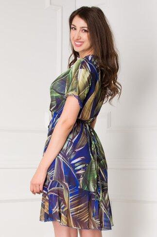 Rochie Dariana albastra cu imprimeu exotic verde