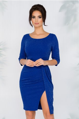 Rochie Dariana albastra cu insertii din fir stralucitor