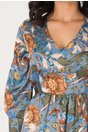 Rochie Dariana bleu cu flori maro