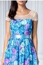 Rochie Dariana clos albastra cu detalii florale
