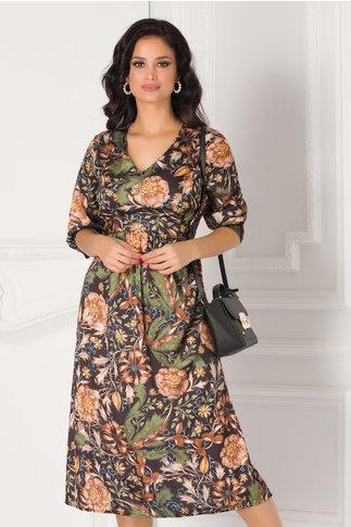 Rochie Dariana neagra cu flori maro