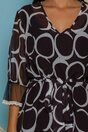 Rochie Dariana neagra cu imprimeuri albe