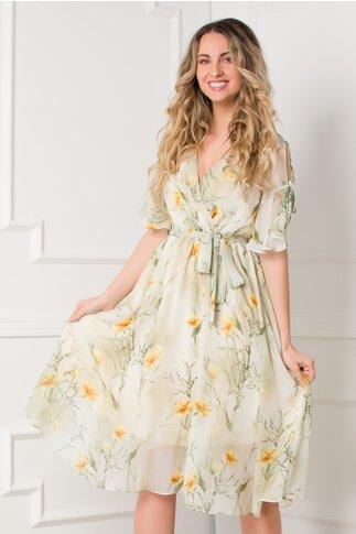 Rochie Darina bej-kaki cu imprimeuri florale