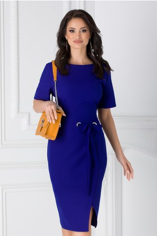 Rochie Darya albastra office cu cordon in talie