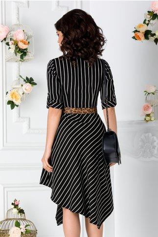 Rochie Darya neagra cu dungi albe verticale