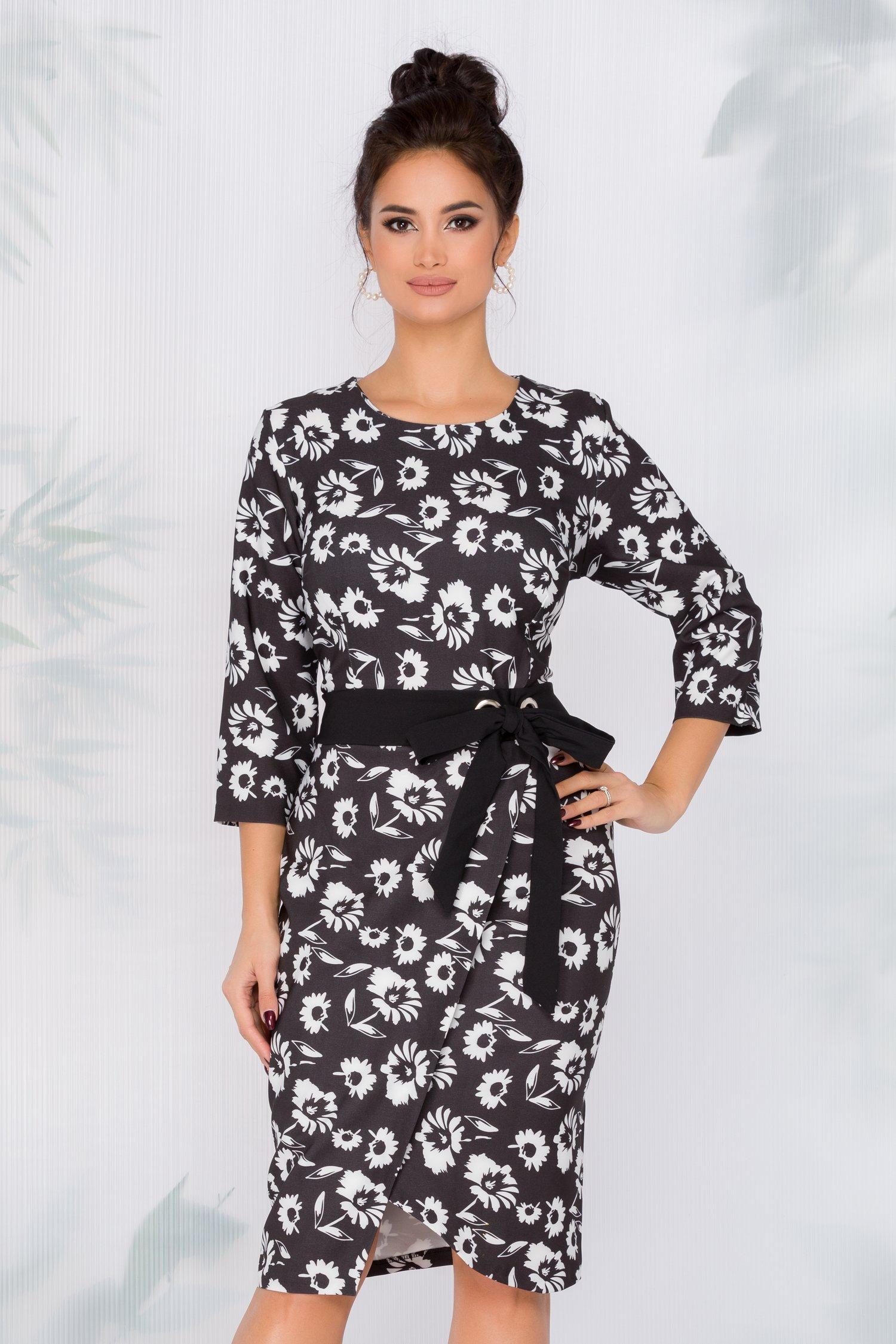 Rochie Darya neagra cu imprimeuri florale si cordon in talie