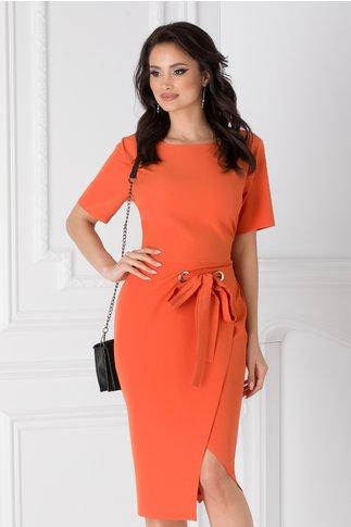 Rochie Darya orange office cu cordon in talie