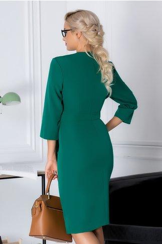Rochie Darya verde office cu cordon in talie