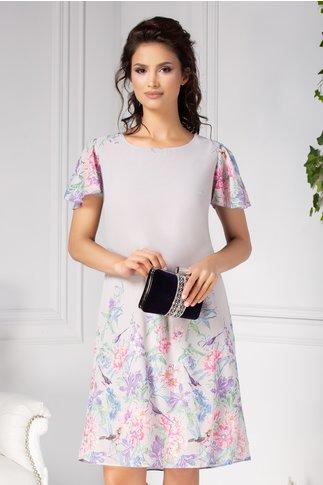 Rochie Daxia gri vaporoasa cu imprimeuri floral pastelat