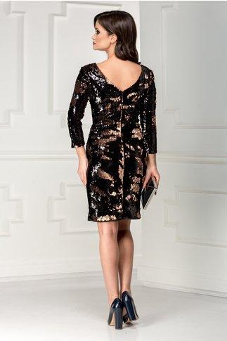 Rochie de seara din paiete reversibile negru aramiu
