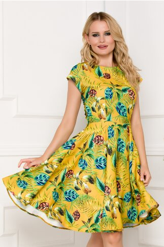 Rochie de vara galbena imprimata multicolor cu frunze
