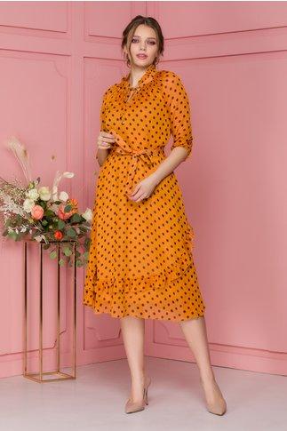 Rochie Deborah orange cu buline bleumarin