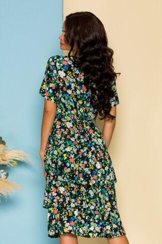 Rochie Deby neagra cu imprimeuri florale colorate si volane