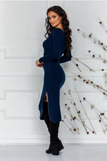 Rochie Deea bleumarin cu fermoar decorativ si strasuri la baza