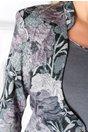 Rochie Delia gri tip sacou cu imprimeu floral