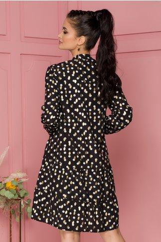 Rochie Delia neagra tip camasa cu buline albe si detalii aurii