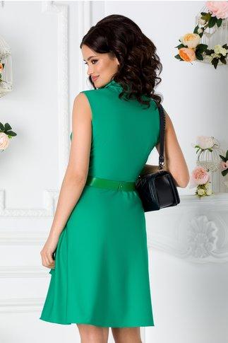 Rochie Delia verde petrecuta cu lungime asimetrica
