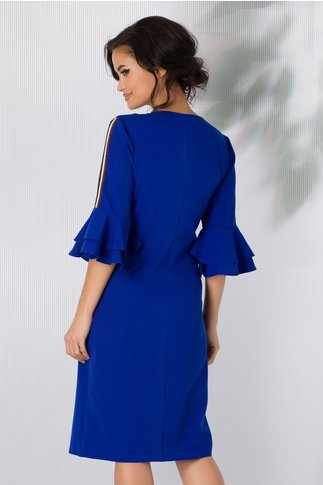Rochie Deni albastra cu benzi decorative pe brate si la buzunare