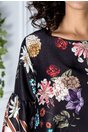Rochie Denie negru cu imprimeu floral si maneci evazate