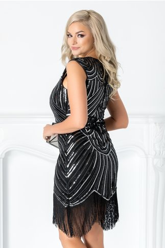 Rochie Denisa neagra cu paiete argintii