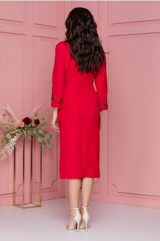 Rochie Denisa rosie cu decupaje florale si aspect petrecut