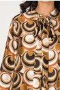 Rochie Denisa vaporoasa cu imprimeuri geometrice maro