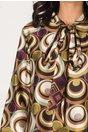 Rochie Denisa vaproasa cu imprimeuri geometrice verzi