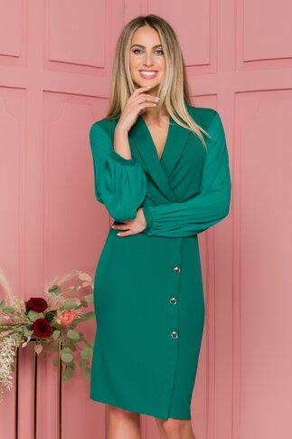 Rochie Denisa verde cu maneci din voal plisat