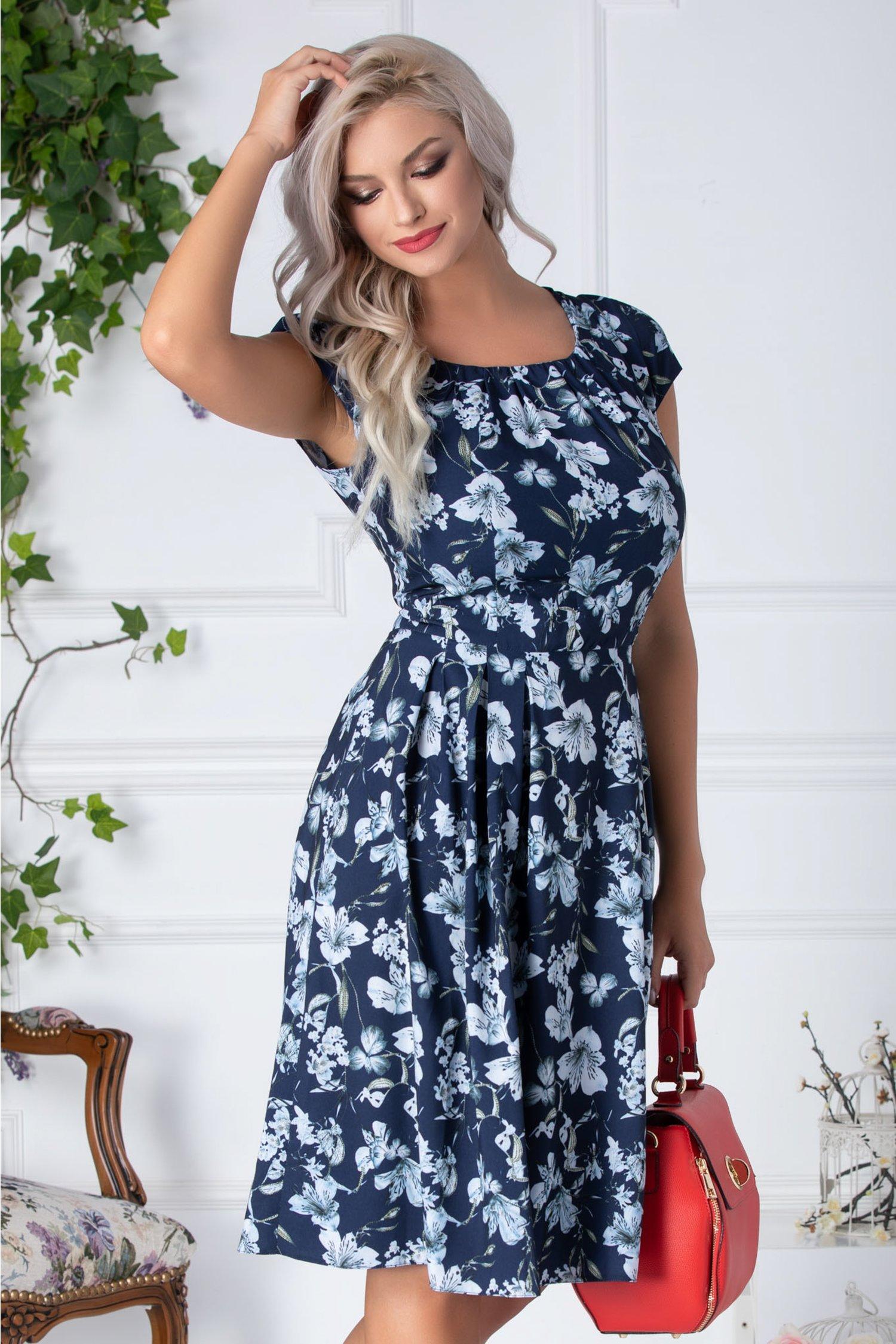 Rochie Denise clos bleumarin cu imprimeu floral bleu