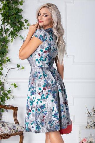 Rochie Denise clos de vara alba cu dungi si flori