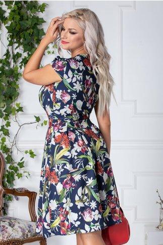 Rochie Denise clos de vara bleumarin cu imprimeu floral