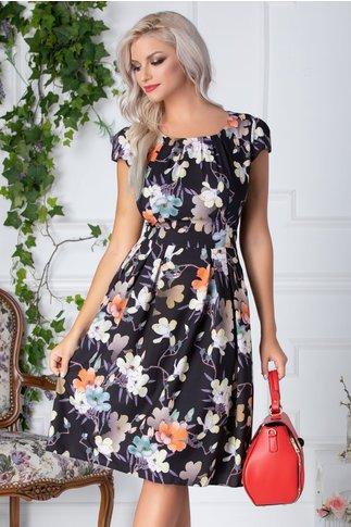Rochie Denise clos de vara neagra cu flori pastelate