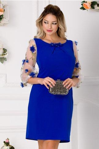 Rochie Denissa albastra cu maneci din organza si flori 3D