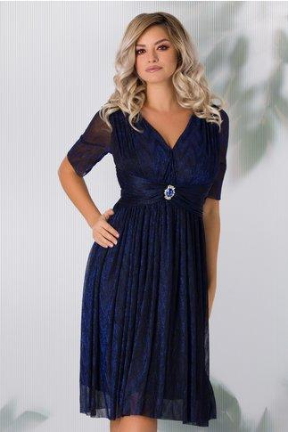 Rochie Deny eleganta de ocazie cu fir lurex albastru
