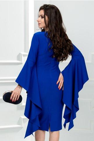 Rochie Derya albastra cu maneci evazate de ocazie