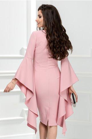 Rochie Derya roz pudra cu maneci evazate de ocazie