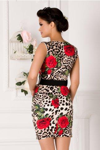 Rochie Desire crem cu animal print si trandafiri rosii