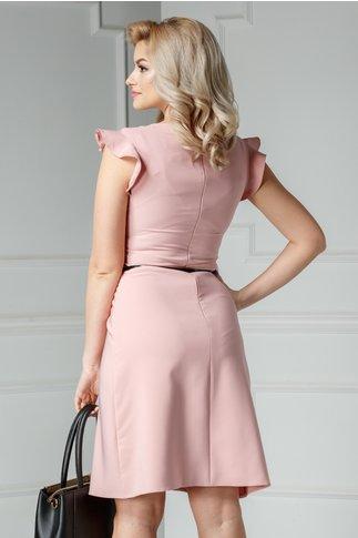 Rochie Deven roz de ocazie cu volanase maneci