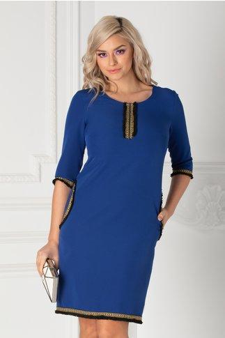 Rochie Diana albastra cu motive traditionale