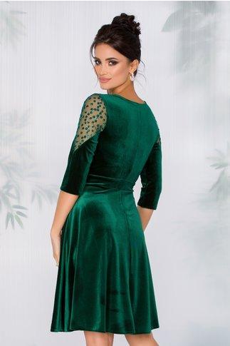 Rochie Diana din catifea verde cu tull si buline glitter la umeri