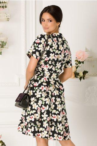Rochie Diana neagra cu imprimeu floral
