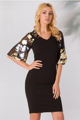 Rochie Diana neagra cu imprimeu floral albastru-auriu  la maneci