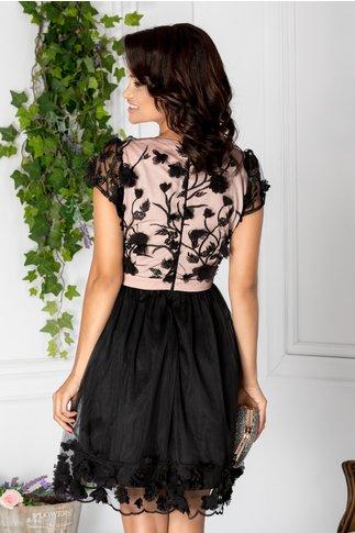 Rochie Diana negru cu roz scurta cu broderie 3D