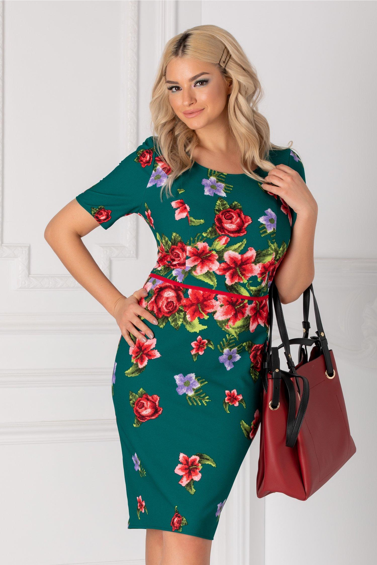 Rochie Diana verde cu imprimeu floral