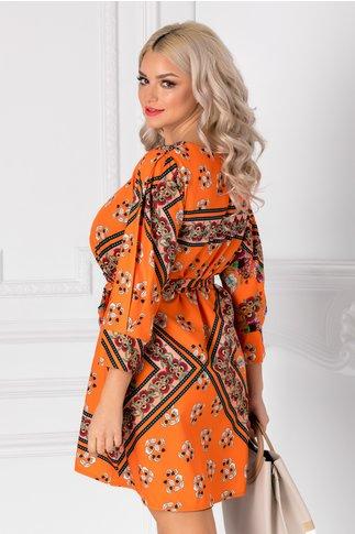 Rochie Didy orange cu imprimeuri florale si cordon in talie
