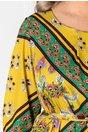 Rochie Didy vernil cu imprimeuri florale si cordon in talie
