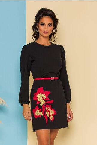 Rochie Dima neagra cu broderie florala la baza