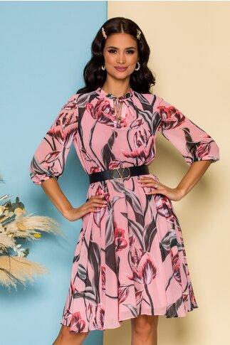 Rochie Dima roz cu imprimeuri florale