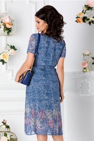 Rochie din voal albastru cu imprimeu floral si cordon in talie
