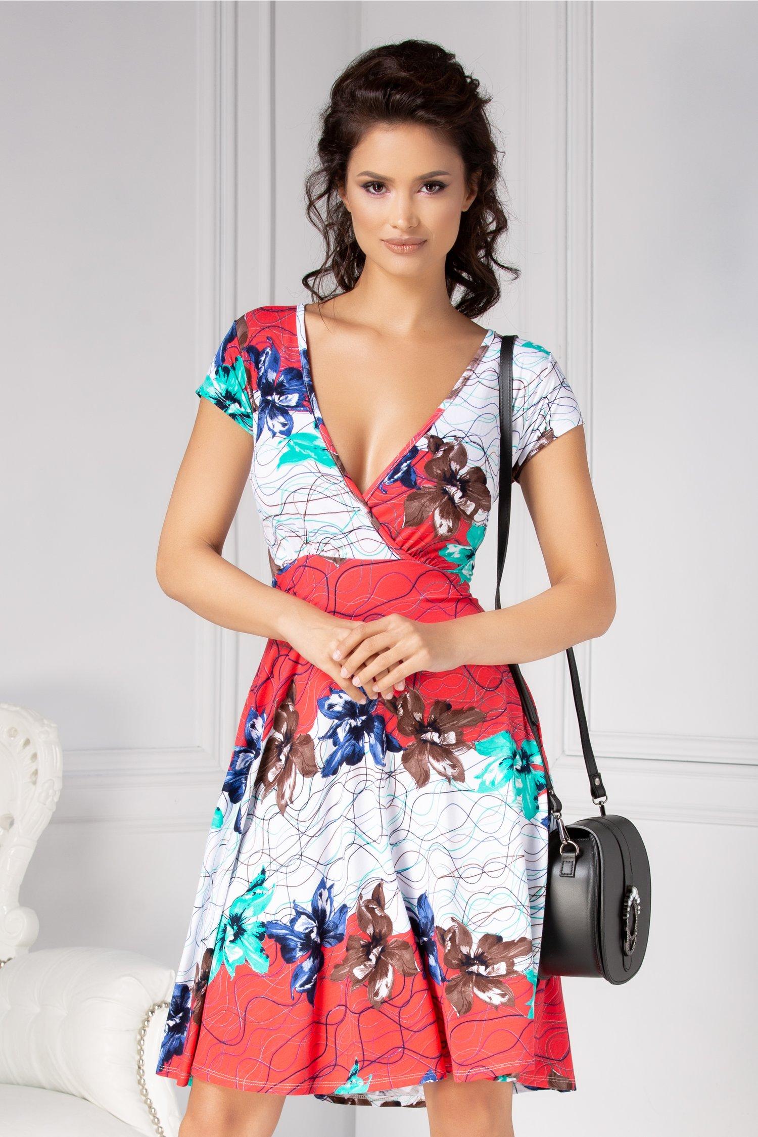 Rochie Dina clos alba cu imprimeu geometric si floral
